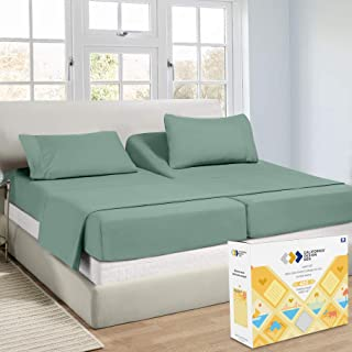 Softest 100% Cotton Sheets Set, Real 400 Thread Count Sateen, for Adjustable Bed, 5 Pieces Split King Sheet Set (H.Green)