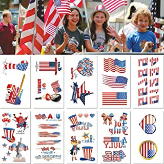 4thofjulydecorations American Flag Temporary Tattoo Stickers Independence Day Star American – Waterproof Face Stickers festival tattoos