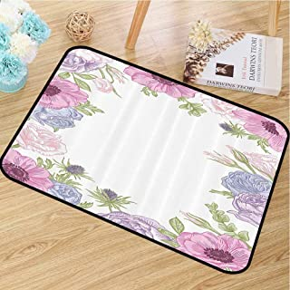 Colorful Door mat Anemone Flower Decorate Your Home Hand Drawn Framework with Fresh Summer Flora Bridal Wedding Theme W30 x L40 Pink Light Blue Green