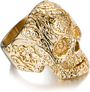Halloween Titanium Steel Men Personality Skull Gold Ring