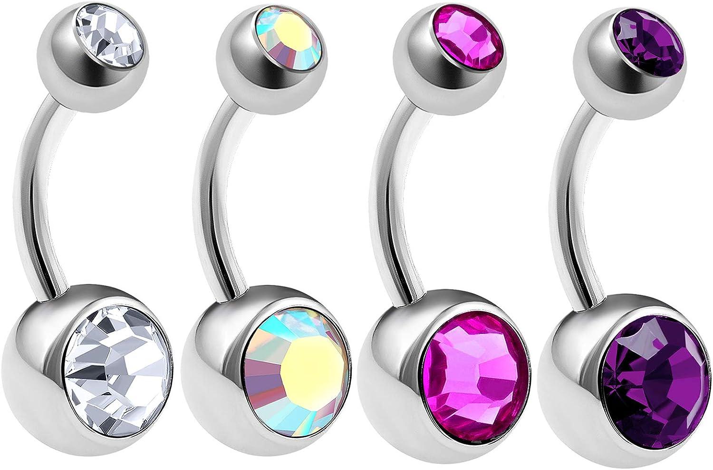 4Pcs Steel 14g 5/16 8mm Belly Rings Piercing Jewelry Earring Navel Ear Lobe 8mm and 5mm Crystal Ball M1772