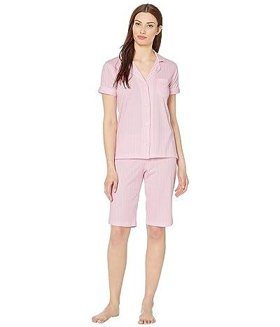 LAUREN Ralph Lauren Cotton Rayon Jersey Knit Short Sleeve Dolman Notch Collar Bermuda Pajama Set (Pink Stripe) Women