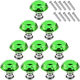 Akstore 10 Pcs Crystal Glass Cabinet Knobs 30mm Diamond Shape Drawer Kitchen Cabinets Dresser Cupboard Wardrobe Pulls Handles (Green)