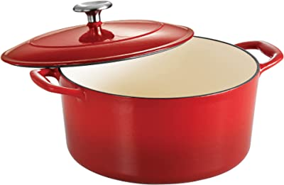 Tramontina Covered Round Dutch Oven Enameled Cast Iron 5.5-Quart Gradated Red, 80131/047DS