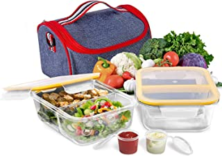 Prep Food Containers 2 Compartment Glass Containers with Lids (1040ml x 2) + Lunch Bag Meal Prep and Portion Control Lunch Box Airtight Leakproof Microwave Oven Freezer Dishwasher Safe Lunch Container