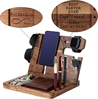 Gift for DAD-Wooden Phone Docking Station, Personalized Gift, Custom Engraved Nightstand Organizer with Phone Charge Stati...