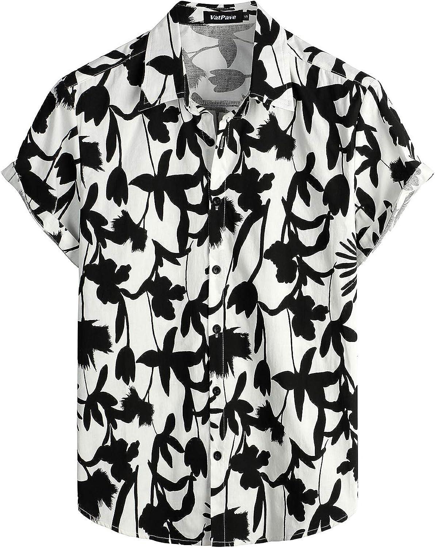 VATPAVE Mens 100% Cotton Hawaiian Shirts Button Down Short Sleeve Beach Shirts Summer Casual Aloha Shirts