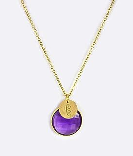 Personalized Purple Amethyst necklace, Monogram necklace, gemstone pendant necklace, Custom February birthstone necklace, bridesmaid gift