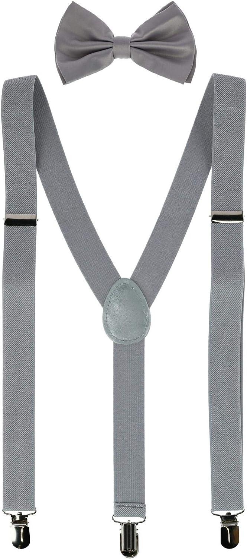 CTM Men's Solid Fashion Color Bow Tie and Suspender Set