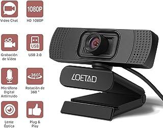 LOETAD Cámara Web Webcam 1080P Full HD con Micrófono Estéreo para Video Chat y Grabación Compatible con Windows, Mac y Android
