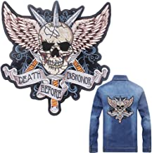 Skull Iron on Patch - Eagle Wings Embroidered DEATH BEFORE DISHONOR - Badge Appliques - Punk Rocker Rider Motorcycle Biker Patches - Iron or Sew on Jackets Vest Back - Garments Stickers Accessories