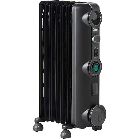 "DeLonghi, Quiet 1500W, Adjustable Oil-Filled Radiator Space Heater, 14"" w x 6"" d x 25"" h, Black"