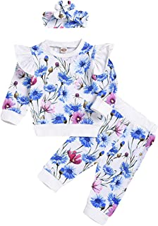 SEVEN YOUNG Kids Toddler Baby Girls Fall Outfits Ruffle Sleeve Shirt+Floral Print Pants Sets 3Pcs Clothes