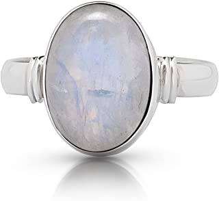 Koral Jewelry Moonstone Oval Stone Ring 925 Sterling Silver Vintage Boho Chic US Size 7 8 9