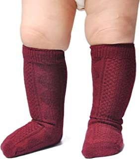 Epeius Unisex-Baby Seamless Cable Knit Knee High Socks (Pack of 3/6)