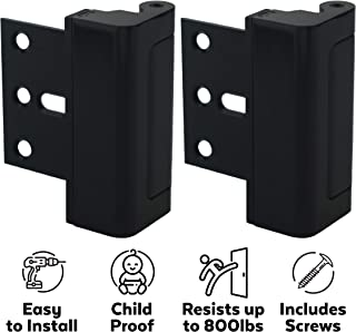 "Door Lock for Extra Home Security & Protection (2-Pack) - Child Proof and Easy to Install Door Latch Device, 3"" Stop, Aluminum Construction, Black Door Locks"