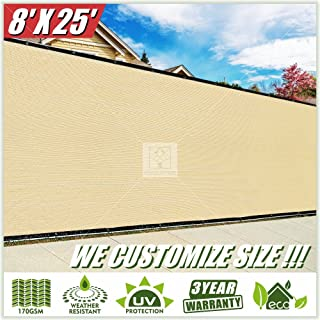 ColourTree Customized Size Fence Screen Privacy Screen Beige 8' x 25' - Commercial Grade 170 GSM - Heavy Duty - 3 Years Warranty