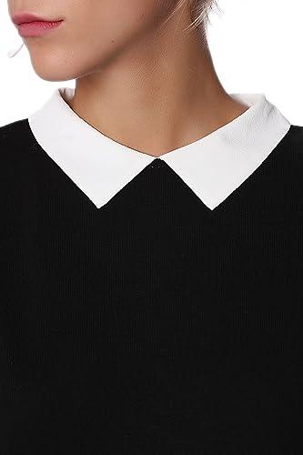 Q2 Mujer Sueter Negro 2 en 1 con Detalle Camisa - L: Amazon ...