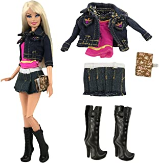 BARWA Fashion Jean Clothes Wears Outfit Jean Jacket Pink Top with Skirt Notepad and Shoes for 11.5 inch Dolls