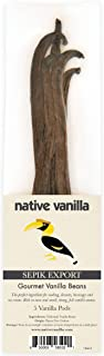 Native Vanilla (5) Vanilla Beans Grade A Gourmet- Sepik Export Premium Whole Vanilla Bean Pods