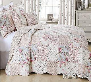Colcha con estampado de retales estilo vintage, 1 colcha y 2 fundas para almohada, diferentes tamaños, Algodón/poliéster, multicolor (Meadow), matrimonio