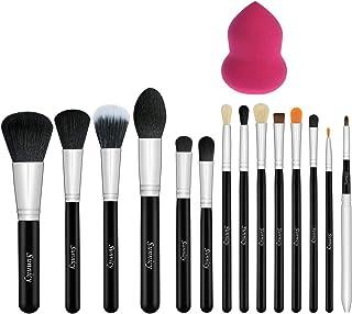 14 Piece Professional Synthetic Kabuki Makeup Brushes + 1x Beauty Blender Sponge