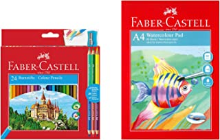Faber-Castell 110324-WD Colour Pencil with 3 Bi-Colour Pencil/Sharpener/A4 Watercolour Pad (Pack of 24)
