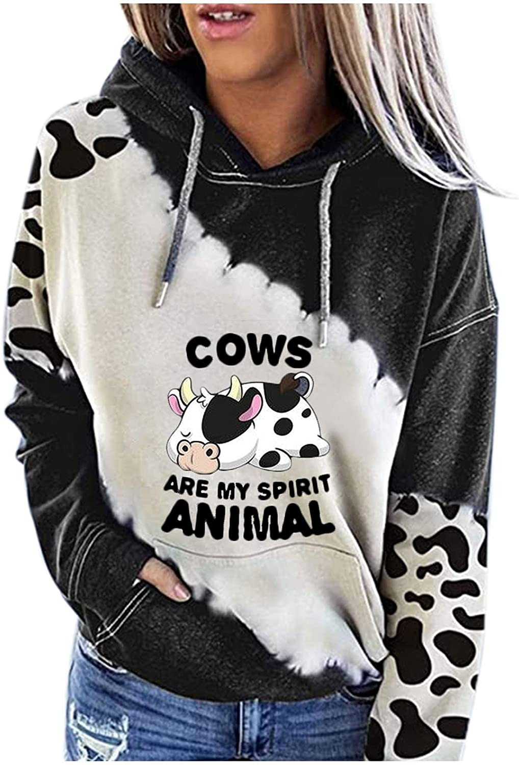 Women's Hoodies Sweater Cute Cow Printed Patchwork Color Block Long-Sleeved Drawstring Casual Tops Shirts
