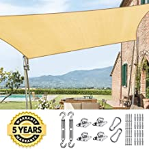 Quictent 185HDPE Rectangle Sun Shade Sail Outdoor Patio Lawn Garden Canopy Top Cover 98% UV-Blocked (26 x 20 ft, Sand (with Hardware Kit))