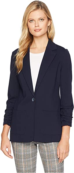 Ruched Sleeve Ponte Two-Pocket Blazer