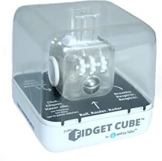 Zuru Fidget Cube by Antsy Labs - Custom Series (Transparent) Clear Fidget Cube with White Accents