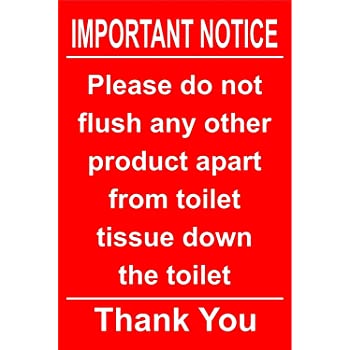 Sticker Sign for Macerator Toilets Ideal for Saniflo. Warning Notice