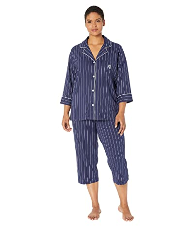 LAUREN Ralph Lauren Plus Size Notch Collar Capri PJ Set (Navt Stripe) Women
