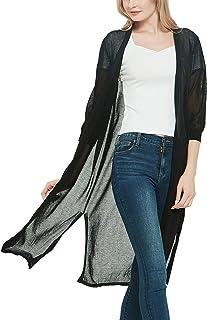 SEVEGO Women's Open Front Lightweight Knit Cardigan Sweater Long Length 3/4 Sleeve Lounge Coat Summer Outwear Coverup