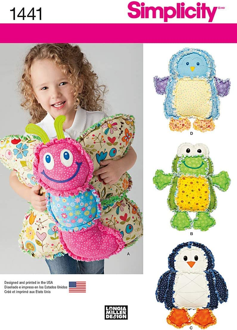 Simplicity 1441 Children's Rag Max 68% OFF Sale Quilted Patt Pillow Sewing Animal