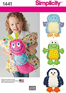 Simplicity 1441 Children's Rag Quilted Animal Pillow Sewing Patterns, One Size