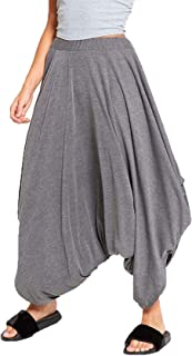 Plain Ali Baba Baggy Harem Trouser Women Ladies Elasticated Waist Lagenlook Pant