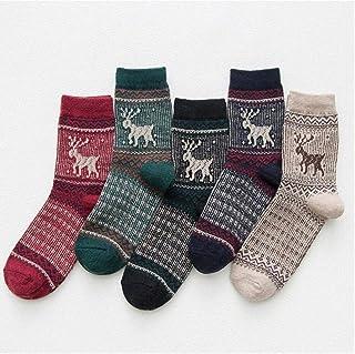 BYFRI, BYFRI 5 Pares/Set De Lana De Navidad del Reno Calcetines Cortos Set Hombres Mujeres Otoño Invierno Animal Ciervos Grueso Regalos Unisex Calcetines Patrón De La Novedad