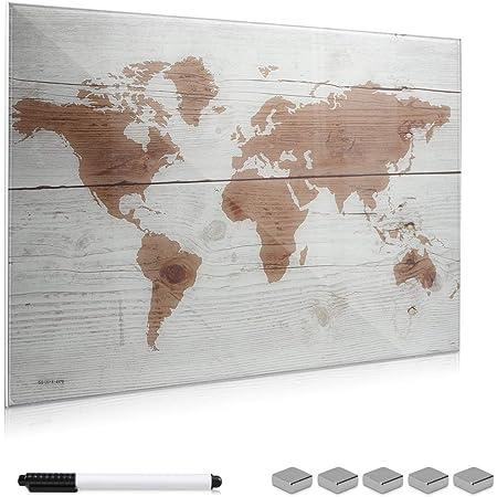Magnettafel Pinnwand Weltkarte Landkarte Kinder Gr/ö/ße 60 x 40 cm