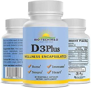 D3-Plus Vitamin D3 Plus Dietary Supplement for Optimal Bone Cardiovascular neuromuscular Immune Health osteoporosis - 60 Vegetable Capsules