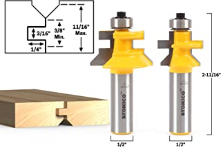 Yonico 15229 Flooring 2 Bit Tongue and Groove Flooring Router Bit Set 1/2-Inch Shank