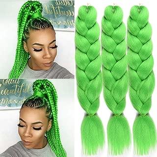 FASHION LADY Jumbo Braiding Hair 3pcs Kanekalon Jumbo Braid Fold 24Inch Kanekalon Synthetic Fiber Braids Hair Braiding Box Twist hair (Lime)