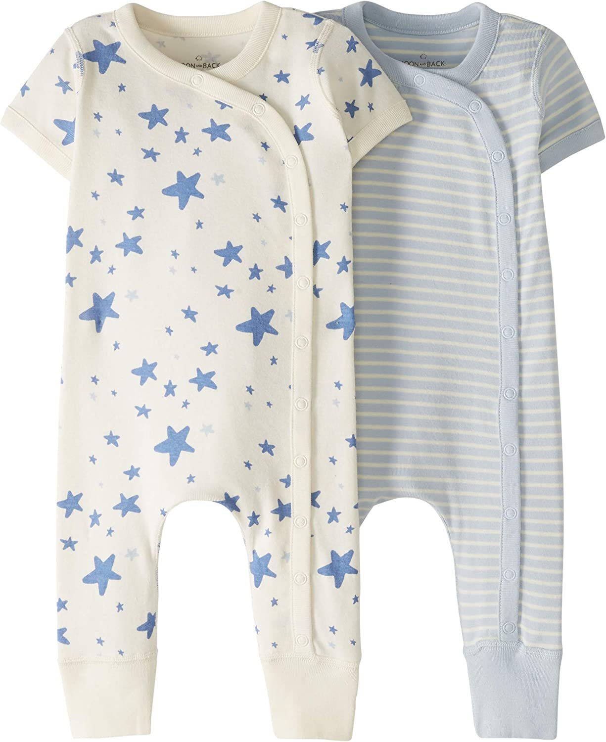 Moon and Back by Hanna Andersson Baby Boys and Girls 2-Pack One-Piece Organic Cotton Short Sleeve Romper