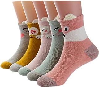 Little Girls Socks Cotton Animals Comfort Thick Socks 5 Pair Pack