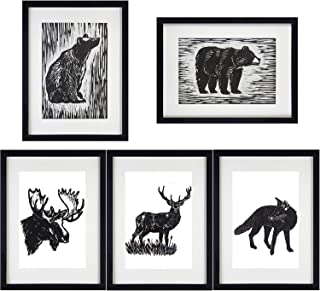 Vintage Dictionary Art Prints Animals Bear Moose Deer Fox Art Prints Black and White Hand Painted Unframed 8''x10'' for Home Decor Wall Art Set of 5