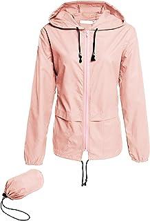 Raincoat Women Lightweight Waterproof Rain Jackets Packable Outdoor Hooded Windbreaker