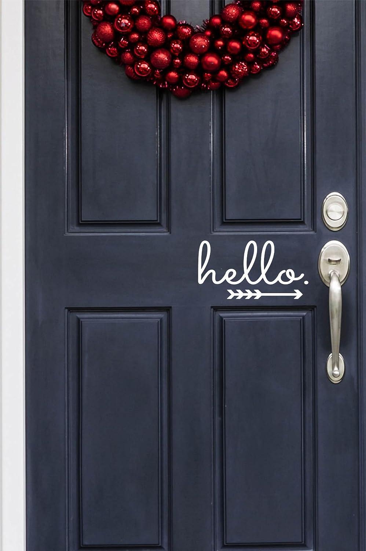 Hello in Cursive with Arrow Indoor/Outdoor Lettering Wall Art Decor Sticker Vinyl for Door 9.5