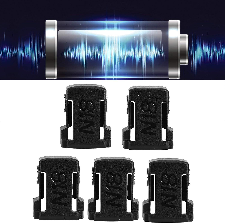Battery Mounts Rack Battery Slots Shelf Wear‑Resistant ABS 5Pcs Battery Mount Holder for Milwaukee m18 18V(Black)