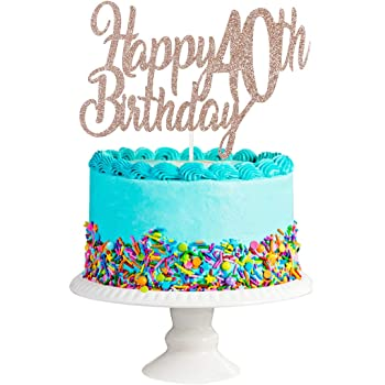 40th Birthday Party Decorations Rose Gold Glittery 40 /& Fabulous Birthday Cake Topper Birthday Cake Decorations Supplies