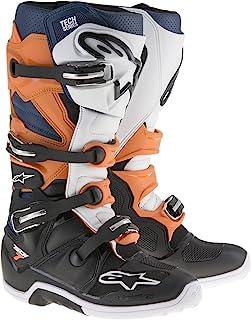 Alpinestars Men's Tech 7 Enduro Boots (Black/Orange/Blue/White, Size 12)